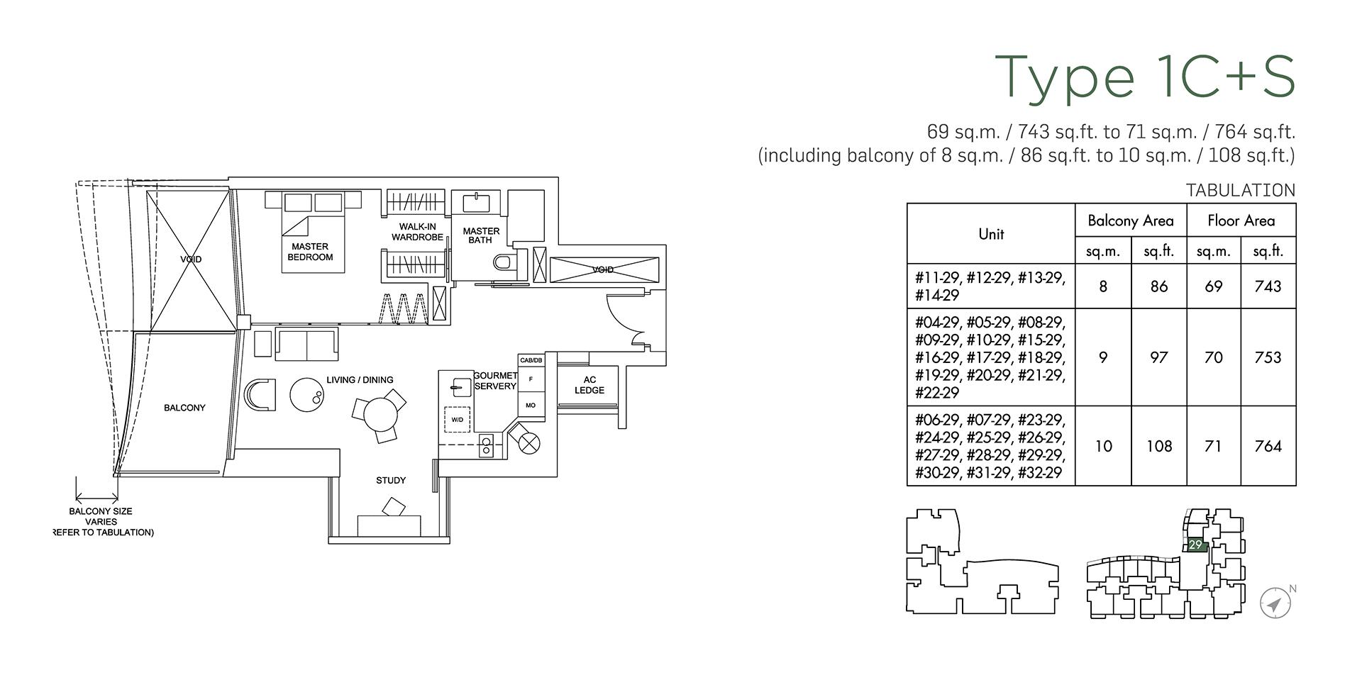 Marina One Residences Floor Plan 1 Bedroom + Study Type1C+S