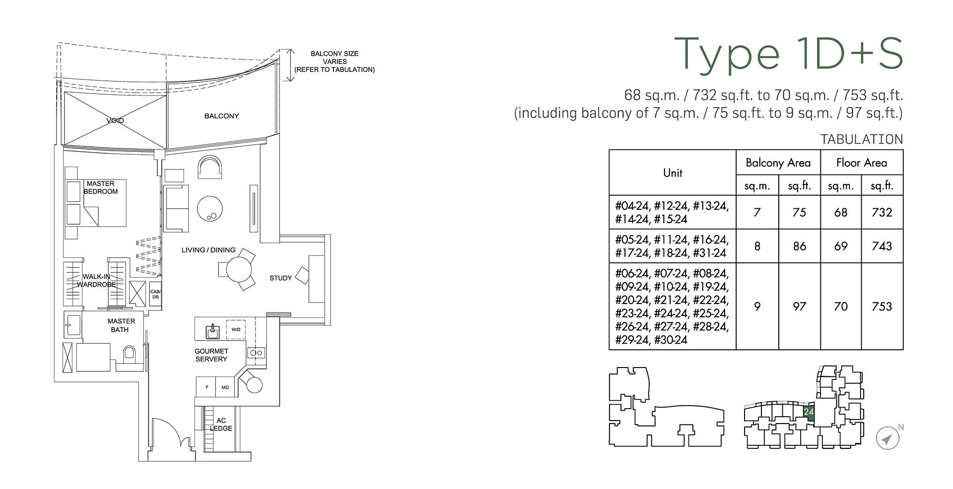 Marina One Residences Floor Plan 1 Bedroom + Study Type1D+S