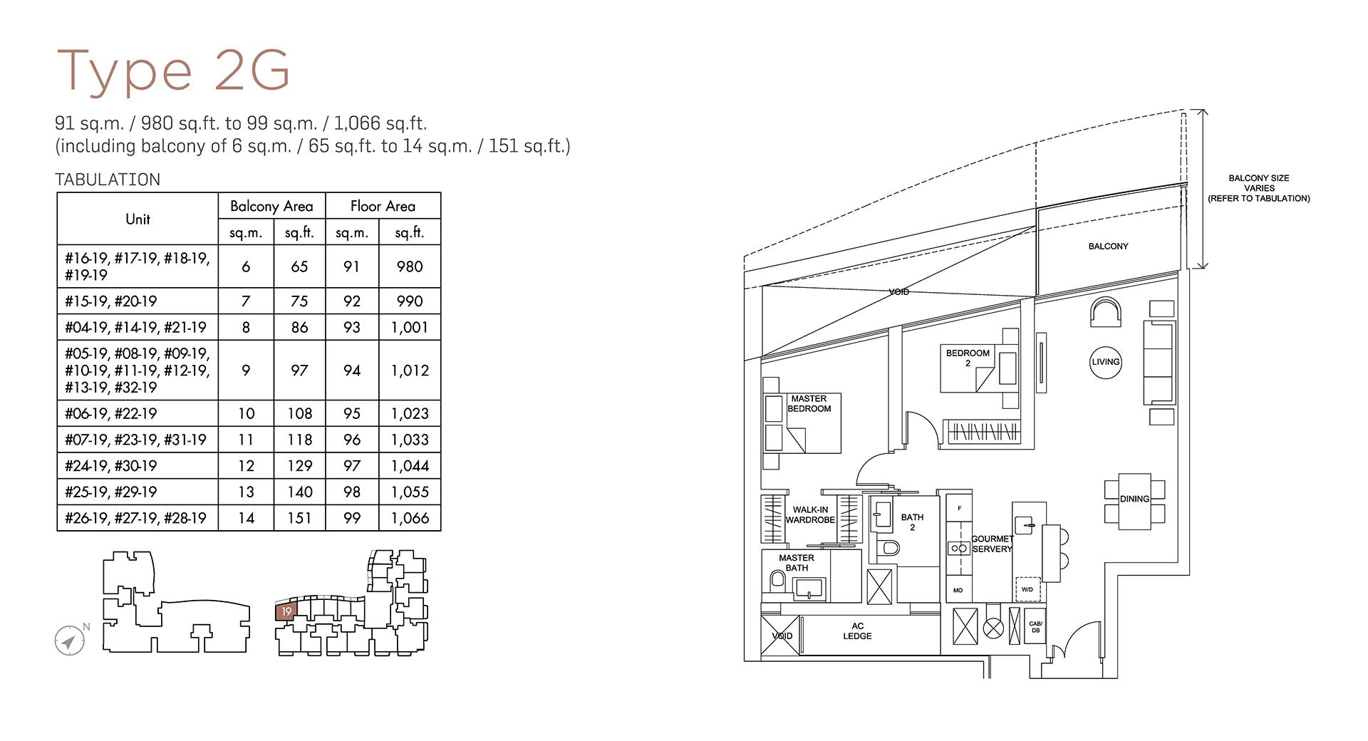 Marina One Residences Floor Plan 2 Bedroom Type2G
