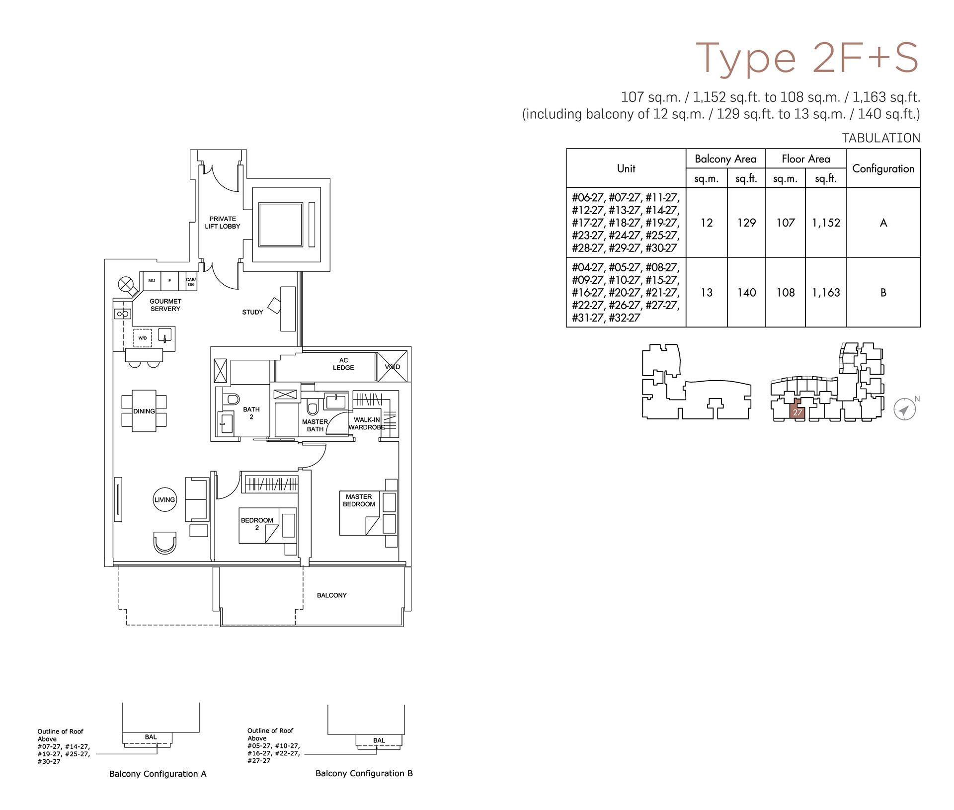 Marina One Residences Floor Plan 2 Bedroom Type2F+S