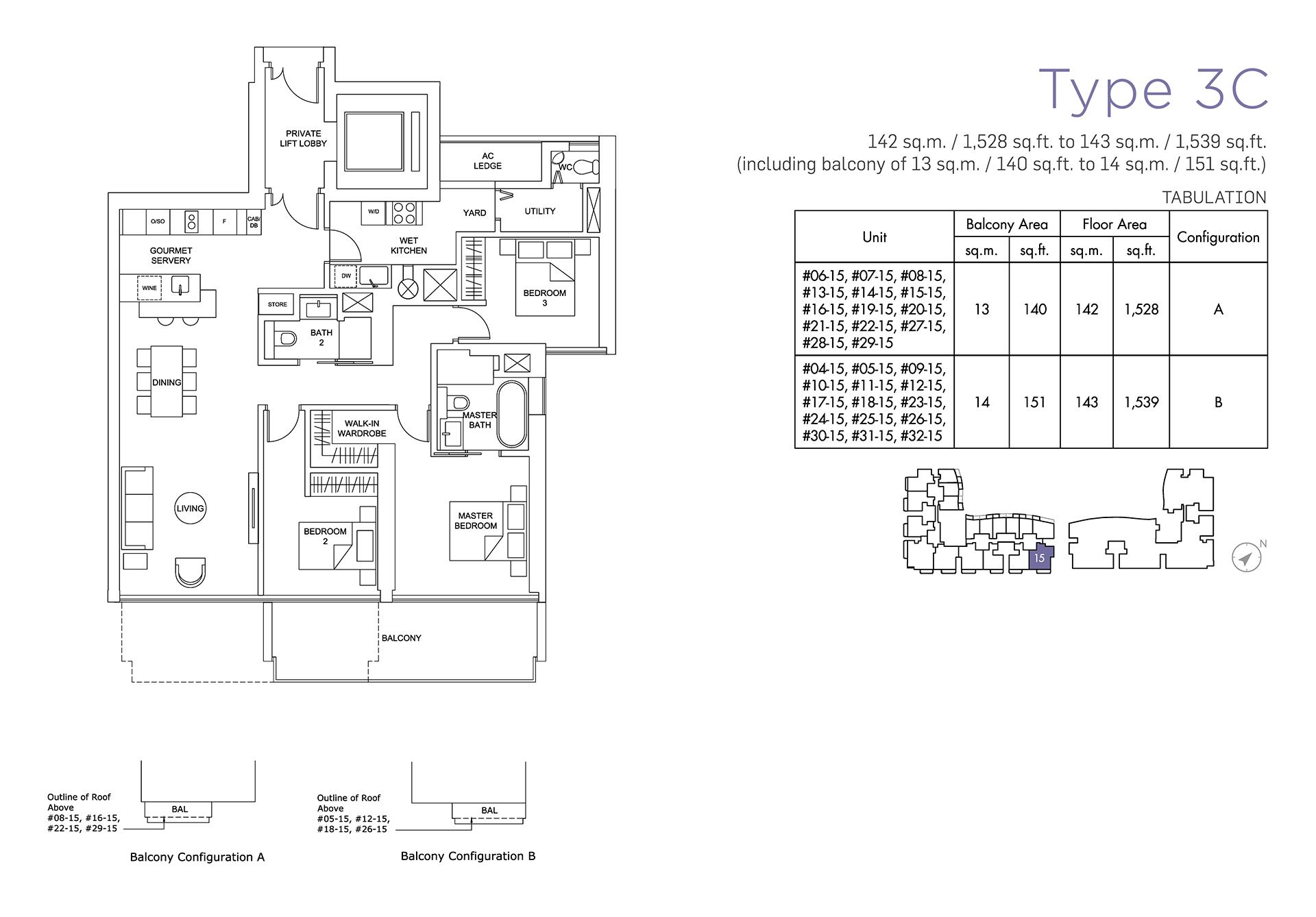 Marina One Residences Floor Plan 2 Bedroom Type3C