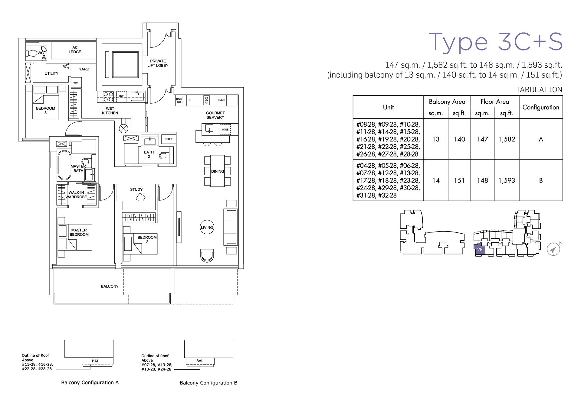 Marina One Residences Floor Plan 2 Bedroom Type3C+S
