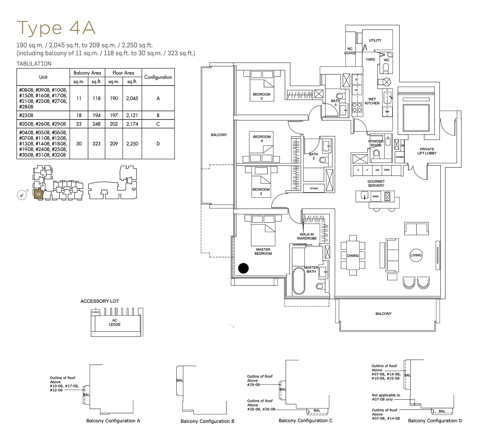 Marina One Residences Floor Plan 2 Bedroom Type4A