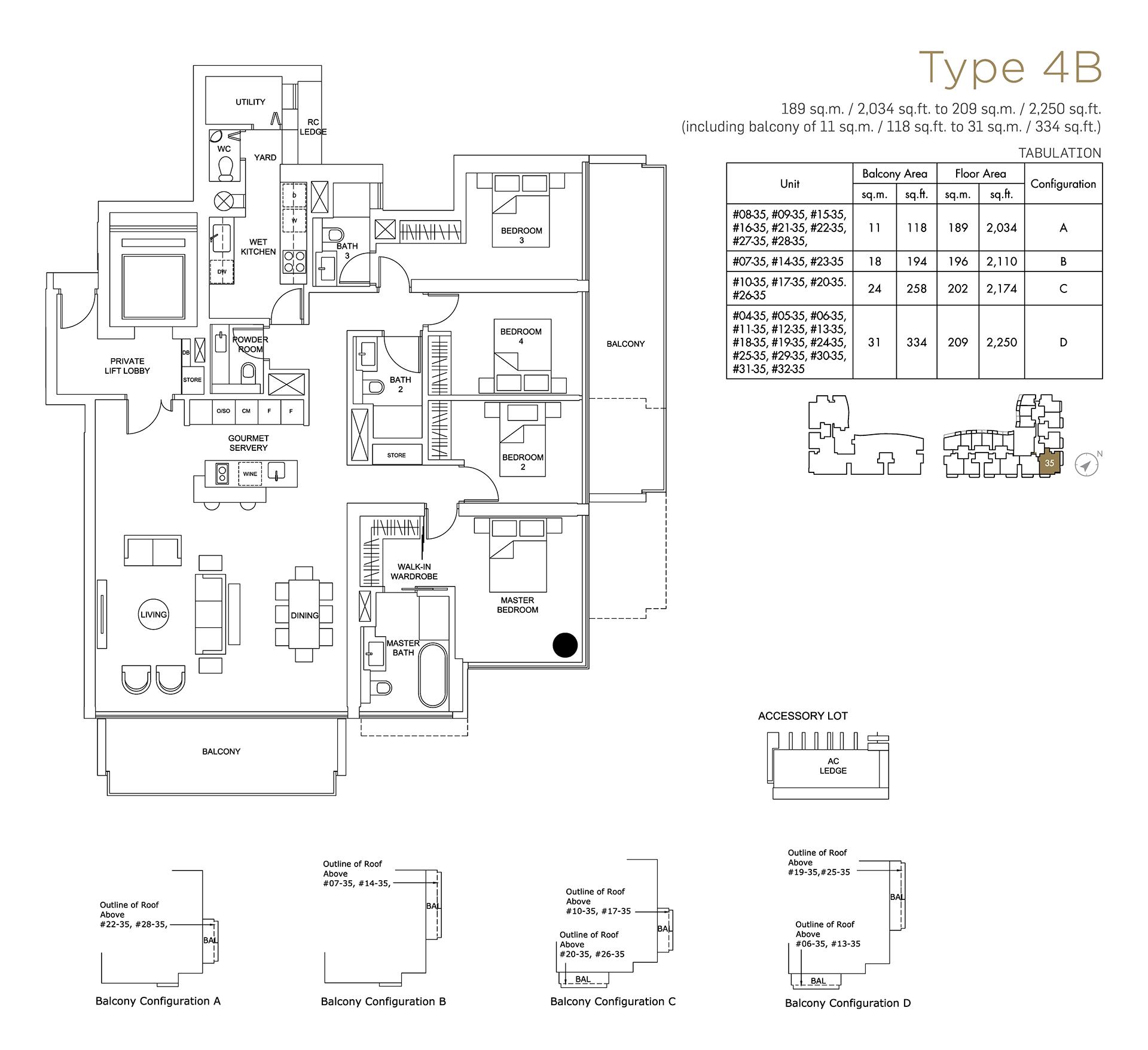 Marina One Residences Floor Plan 2 Bedroom Type4B
